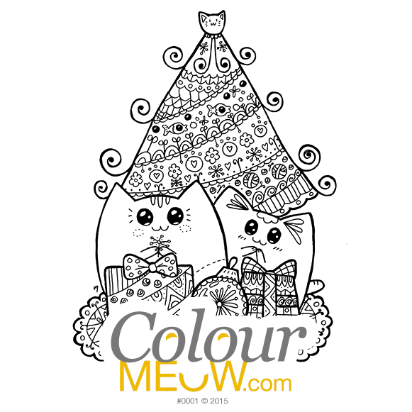 Cat Colouring Page - Christmas Yoko Cats With Gifts - (Design 0001)