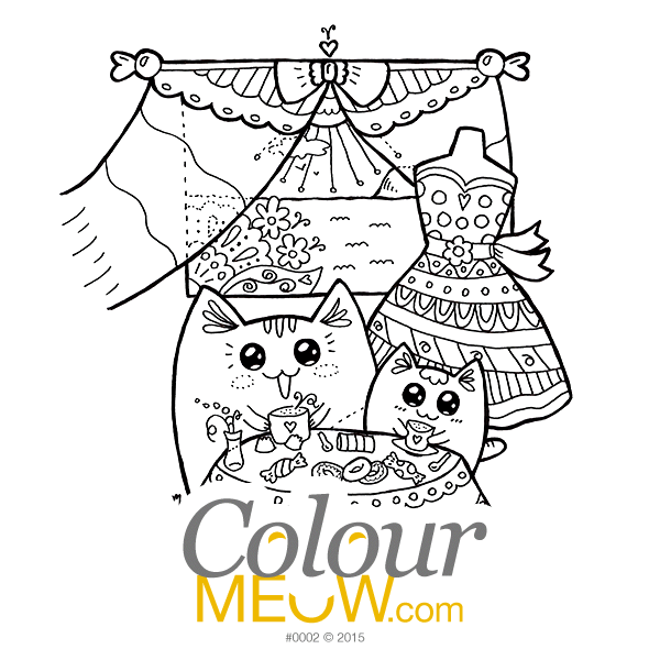 Cat Colouring Page - Kawaii Yoko Cats - Neko and Mia - Summer Vacation - (Design 0002)
