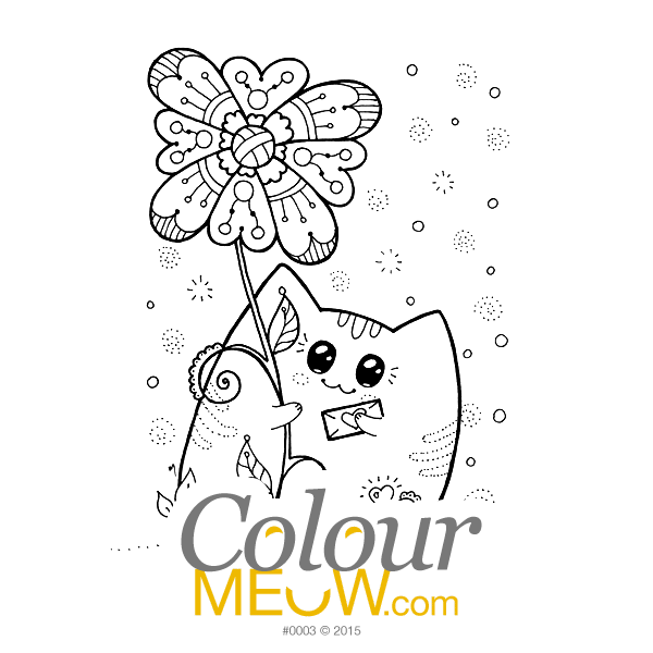 Cat Colouring Page - Kawaii Yoko Cats - Cat Neko - Heart Letter - (Design 0003)