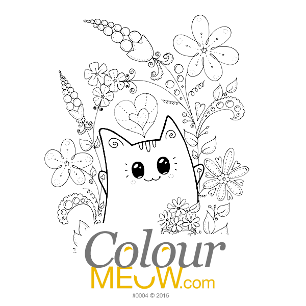 Cat Colouring Page - Kawaii Yoko Cats - Cat Neko - Flower Happiness in Garden - (Design 0004)