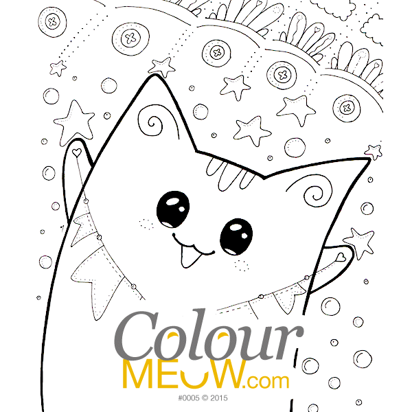 Cat Colouring Page - Kawaii Yoko Cats - Cat Neko - Birthday & Christmas Party Celebration - (Design 0005)