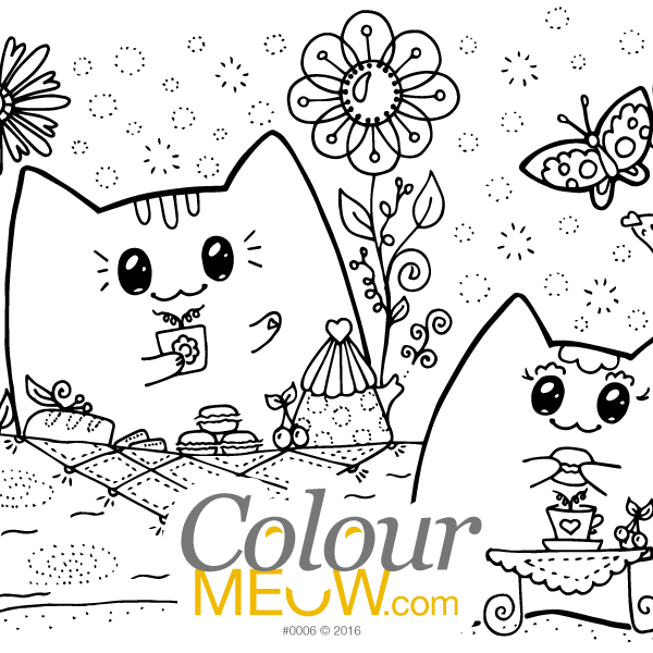 Cat Colouring Page - Kawaii Yoko Cats - Neko & Mia - Romantic Getaway - Tea In Park - (Design 0006)