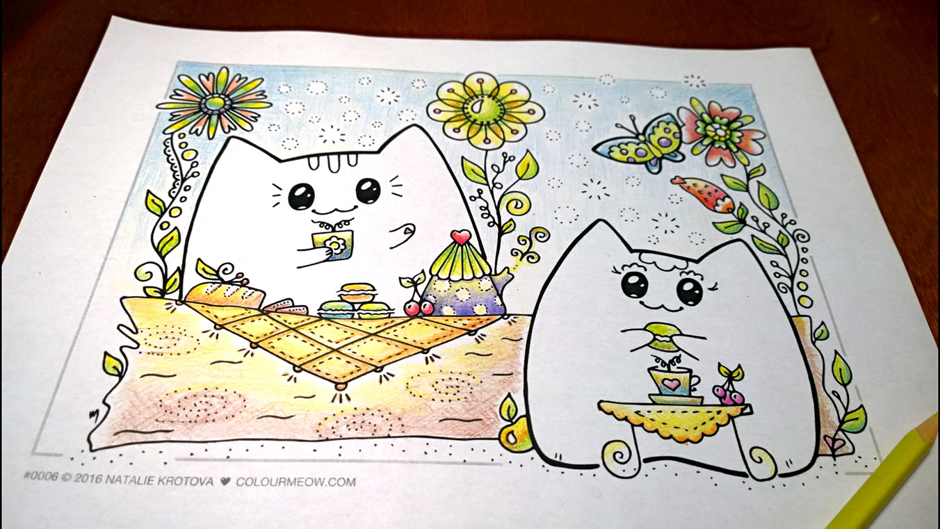 0006-Colour-Meow-Cat-Colouring-Page-Neko-Mia-Yoko-Cats-Love-Garden-Flowers-Tea_coloured