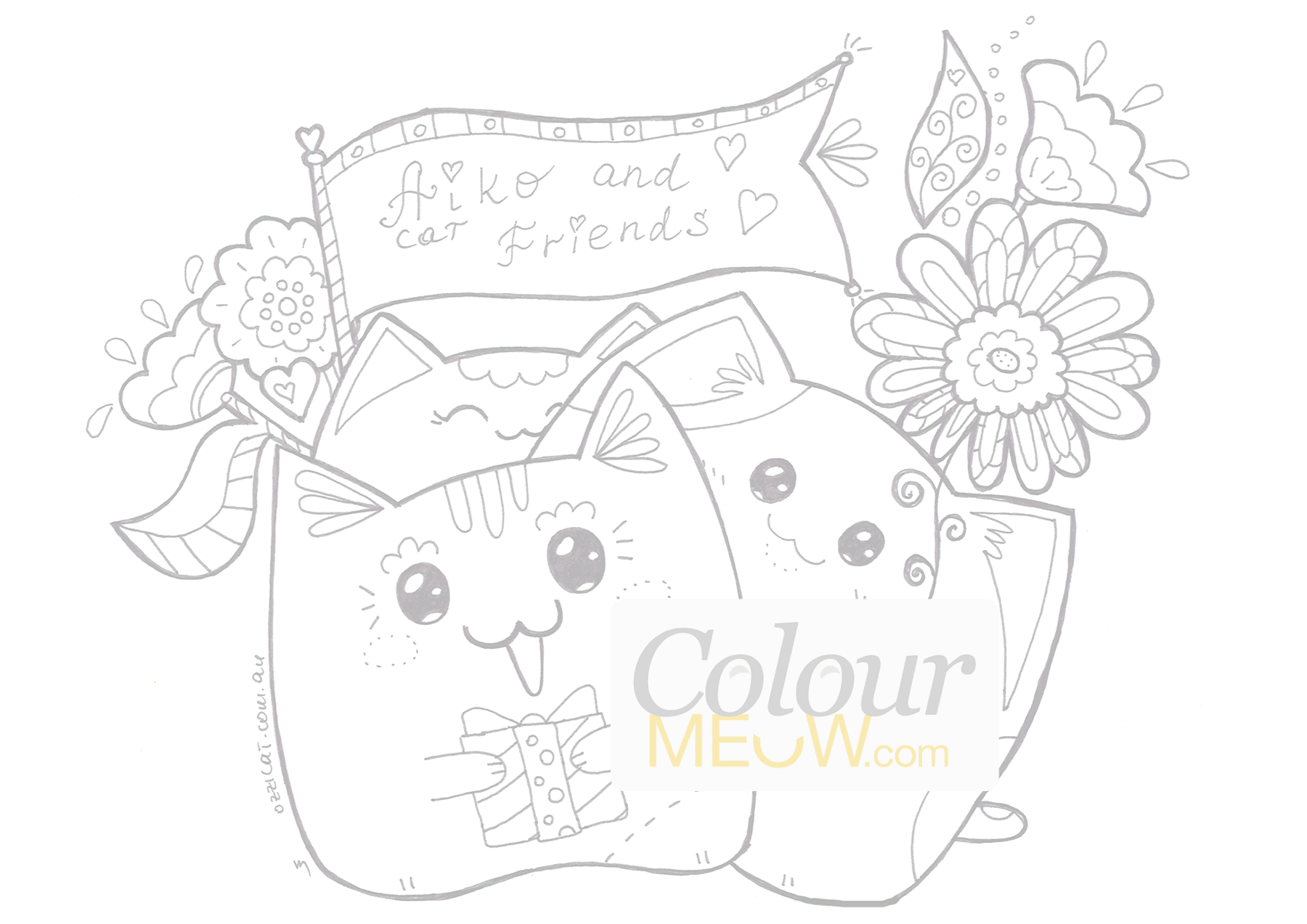 colour meow cat colouring pages for adults and kids - Drawing And Colouring Pictures For Kids