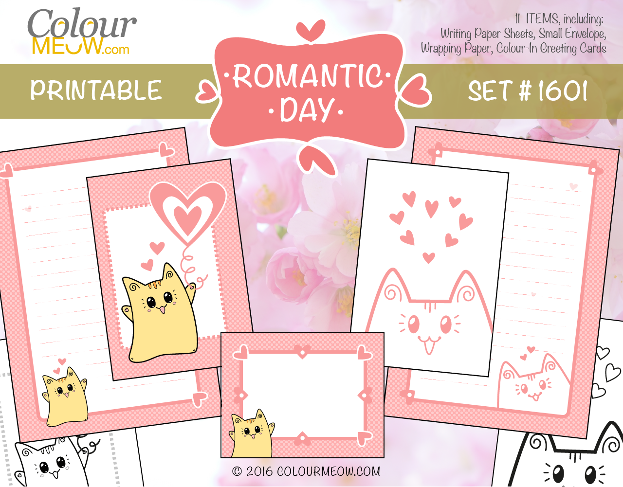 Colour Meow - DIY Printable Set #1601 - Romantic Day - Neko Yoko Cat, Pink Polka Dot Pattern, Hearts - Planning, Writing, Celebration, Diary, Journal, ToDo List