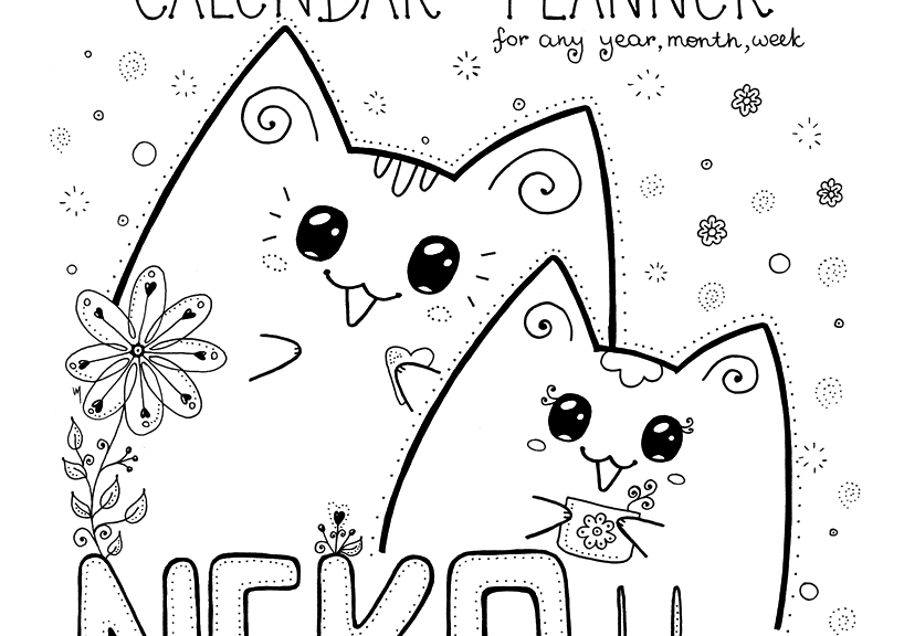 graphic about Printable Cats referred to as Lovely Printable Cat Colouring Calendar-Planner Neko Yoko