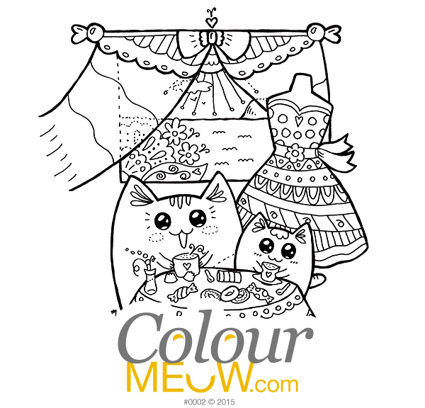 0002-Colour-Meow-Cat-Colouring-Page-Tea-time-Yoko-Cats-sea-summer-sneak-preview_web