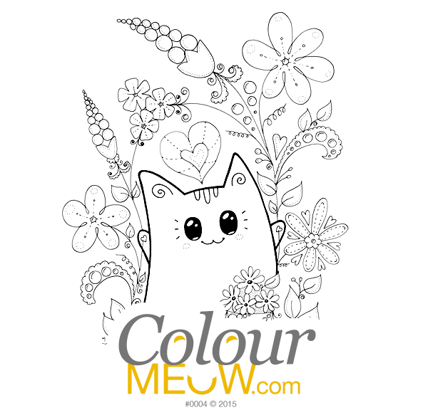 0004 colour meow cat colouring page neko yoko - Colour In Pictures